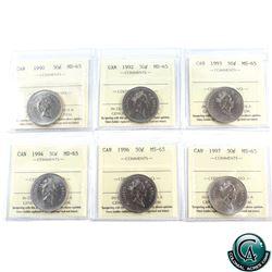 50-cent 1990, 1992, 1993, 1994, 1996, 1997 ICCS Certified MS-65. 6pcs.