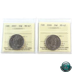 50-cent 2007 & 2008 ICCS Certified MS-67. Both coins tied for finest known.