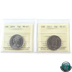50-cent 2009 & 2013 ICCS Certified MS-67. Both coins tied for finest known.