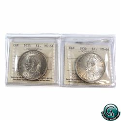 Silver $1 1935 & 1936 Both ICCS Certified MS-64. Both Lightly toned.