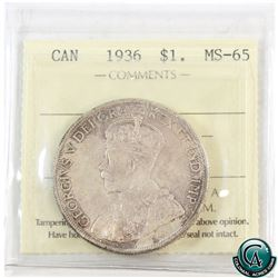 Silver $1 1936 ICCS Certified MS-65