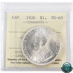 Silver $1 1936 ICCS Certified MS-65. A lustrous coin with choice eye appeal.