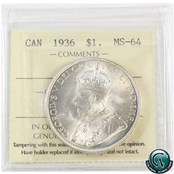 Silver $1 1936 ICCS Certified MS-64. Original mint luster with hints of golden toning.