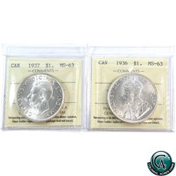 Silver $1 1936 & 1937 ICCS Certified MS-63. 2pcs.