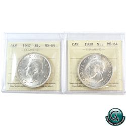 Silver $1 1937 & 1938 ICCS Certified MS-64. Eye catching coins with bright mint luster on both. 2pcs