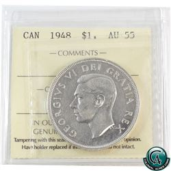 Silver $1 1948 ICCS Certified AU-55.