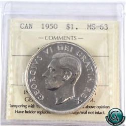 Silver $1 1950 Arnprior ICCS Certified MS-63