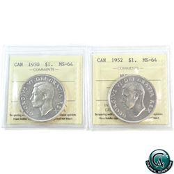Silver $1 1950 SWL & 1952 NWL ICCS Certified MS-64. 2pcs.