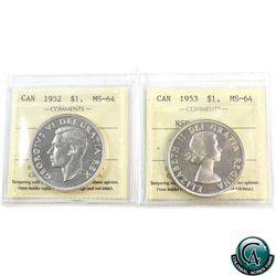 Silver $1 1952 WL & 1953 NSF; Cameo ICCS Certified MS-64. 2pcs.