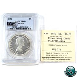 Silver $1 1954 ICCS/PCGS Certified PL-66 Ultra Heavy Cameo. A beautifully struck coin with mirror fi