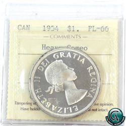 Silver $1 1954 ICCS Certified PL-66 Heavy Cameo