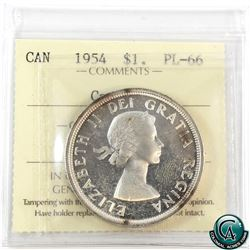 Silver $1 1954 ICCS Certified PL-66 Cameo