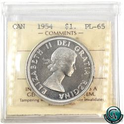 Silver $1 1954 ICCS Certified PL-65 Cameo