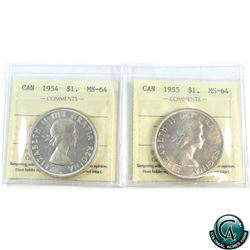 Silver $1 1954 & 1955 ICCS Certified MS-64. 2pcs.
