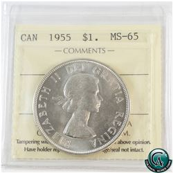 Silver $1 1955 ICCS Certified MS-65. A blast white coin with a soft satin finish.