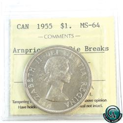 Silver $1 1955 Arnprior with Die Beaks ICCS Certified MS-64.
