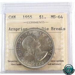 Silver $1 1955 Arnprior with Die Break ICCS Certified MS-64