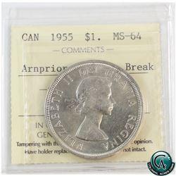 Silver $1 1955 Arnprior with Die Break ICCS Certified MS-64.