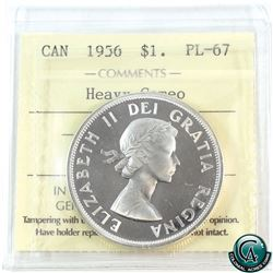 Silver $1 1956 ICCS Certified PL-67 Heavy Cameo. Beautiful even cameo highlighted by a bright mirror