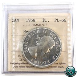 Silver $1 1958 ICCS Certified PL-66 Heavy Cameo