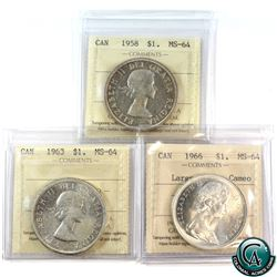 Silver $1 1958, 1963 & 1966 Large Beads Cameo ICCS Certified MS-64. 3pcs