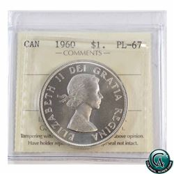 Silver $1 1960 ICCS Certified PL-67 Cameo.