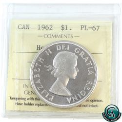 Silver $1 1962 ICCS Certified PL-67 Heavy Cameo.