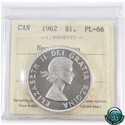 Silver $1 1962 ICCS Certified PL-66 Heavy Cameo.