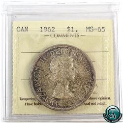 Silver $1 1962 ICCS Certified MS-65.