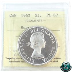 Silver $1 1963 ICCS Certified PL-67 Heavy Cameo!