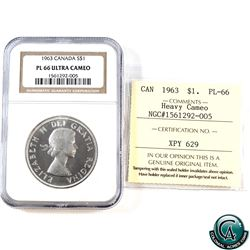 Silver $1 1963 NGC Certified PL-66 Ultra Heavy Cameo & ICCS Certified PL-66 Heavy Cameo (Cross Grade