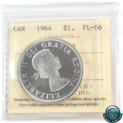 Silver $1 1964 ICCS Certified PL-66 Heavy Cameo.