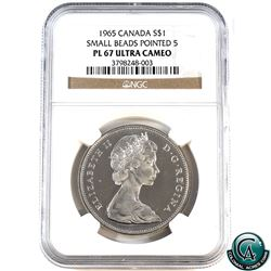 Silver $1 1965 Small Beads Pointed 5 NGC Certified PL-67 Ultra Heavy Cameo