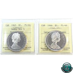 Silver $1 1965 SmBds Blunt 5; Heavy Cameo & 1966 Large Beads; Cameo ICCS Certified PL-66. 2pcs.