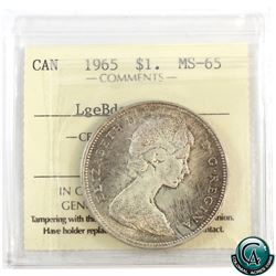 Silver $1 1965 LgeBds Blt 5 ICCS Certified MS-65.