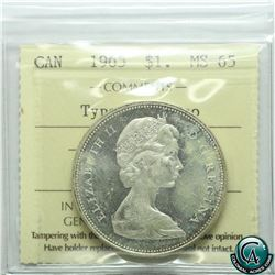 Silver $1 1965 Type V ICCS Certified MS-65 Cameo