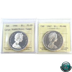 Silver $1 1966 Large Beads & 1967 ICCS Certified PL-66 Heavy Cameo. 2pcs.