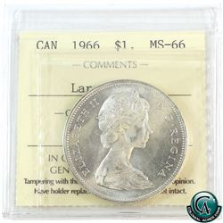 Silver $1 1966 Large Beads ICCS Certified MS-66! Tied for finest known. Contains light toning with l