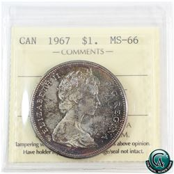 Silver $1 1967 ICCS Certified MS-66.