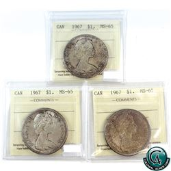 Silver $1 1967 ICCS Certified MS-65. 3pcs.