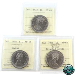 Nickel $1 1973, 1974, 1975 Attached Jewels ICCS Certified MS-65. 3pcs.
