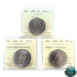 Nickel $1 1981, 1982 Constitution, 1984 J. Cartier ICCS Certified MS-65. 3pcs.