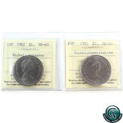 Nickel $1 1982 Voyageur & Constitution ICCS Certified MS-65. 2pcs.