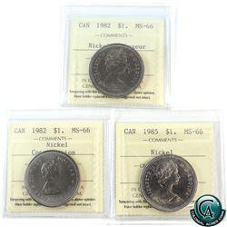 Nickel $1 1982 Constitution, 1982 Voyageur, 1985 ICCS Certified MS-66. 3pcs.