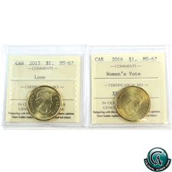 Loon $1 2015 Loon & 2016 Woman's Vote ICCS Certified MS-67! 2pcs.