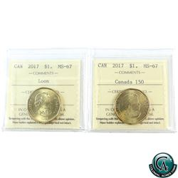Loon $1 2017 Loon & 2017 Canada 150th ICCS Certified MS-67!. 2pcs.