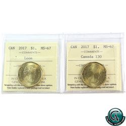 Loon $1 2017 Loon & Canada 150th ICCS Certified MS-67! 2pcs.