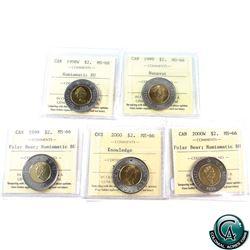 $2 1998W NBU, 1999 Nunavut, 1999 NBU, 2000 Knowledge, & 2000W NBU ICCS Certified MS-66. 5pcs.