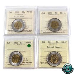 $2 2008, 2009, 2011 & 2011 Boreal Forest ICCS Certified MS-66. 4pcs