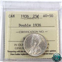 25-cent 1936 'Doubled 1936' ICCS Certified AU-50. RARE error